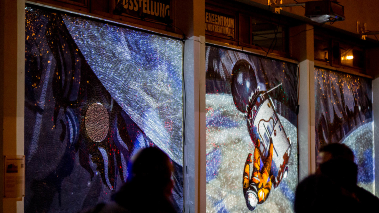 "Interactive wall mosaic mapping ""Cast Your Shadow"""